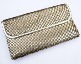 Vintage Mesh Wallet WHITING & DAVIS - Silver Tone Metallic Pocketbook