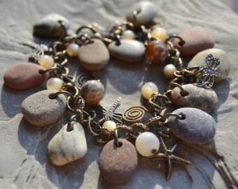 Beach Stone Bracelet, Beach Stone Jewelry, Lake Erie Stones Earthy Charm Pebble Bracelet