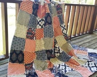 Queen Quilt, Rag Quilt, Botanique fabrics, navy blue orange and sage green, comfy cozy handmade, READY TO SHIP