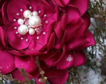 Fuchsia Bright Pink Flower Brooch or Hair Clip