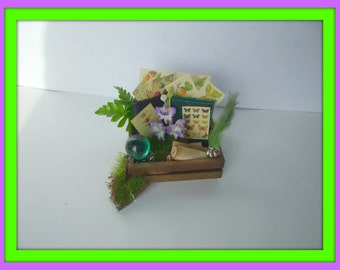 Gothic Witch aged spell aged Herb crate dollhouse miniature OOAK Halloween