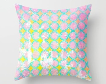 Pink and yellow pillow, spring pillow design, feminine decor pink nursery decor, stenciled pillow cover, pink sofa pillow