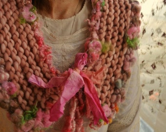 hand knit scarf romantic rose artyarn cowl collar scarf -  old world romance collar