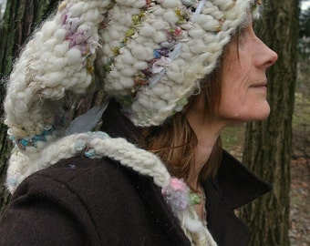 hand knit slouchy hat art yarn wool fantasy faerie stocking winter hat -  old world winter fairytale