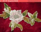 Winter SALE - Antique Silk Chenille Metallic Floral Embroidery Applique Trim