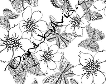 Coloring page - Tangled butterflies and flowers, escape into nature at the stroke of your pencil