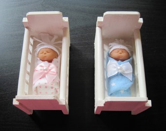 One Miniature Polymer Clay Bundled Baby in One Crib White or Natural