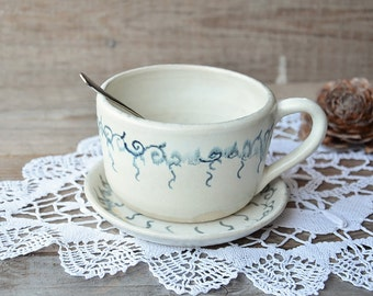 Lavender Stoneware rustic Tea Cup with saucer  - Rustic lavender with blue decoration -  Handmade Ceramics