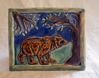 Porcelain California Bear tile, relief tile, Arts and Crafts relief tile-MADE TO ORDER