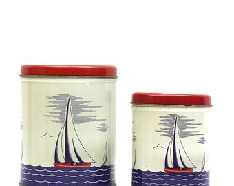 Vintage 50s Sailor Blue Canisters - Set of Two - Shabby Chic Condition