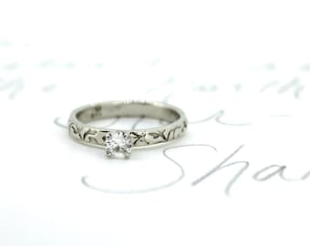 moissanite engagement ring . unique engagement ring . bohemian diamond alternative . 14k white gold engagement ring by peacesofindigo