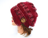 Spark Mix Cranberry Cloche - Knit Hat With Button - Women's Cloche - Flapper Hat - Asymmetrical Cloche - 1920s Cloche Hat - Ruched Hat