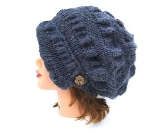 Sparkly Grey Cloche - Knit Hat With Button - Women's Cloche - Flapper Hat - Asymmetrical Cloche - 1920s Cloche Hat - Ruched Hat