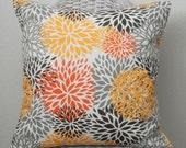 Decorative Pillow Cover Fall Colors Orange Gold Black Gray Choose Size Decor Fabric Invisible Zipper