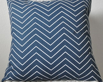 Navy and White Chevron Zig Zag Pillow Den Pillow 5 Sizes with or without Insert