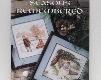 Cross Stitch Pattern Book DIY Vintage Christmas Baby Nursery Wedding Needle Craft Needlepoint Leisure Arts Seasons Remembered Hard Cover