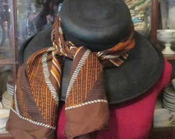 Striped Silk Scarf Geometric Long Narrow Scarf Mod Pattern Vintage Fall Autumn Neutral Brown Rust Stripes