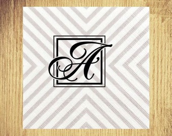 Silver Chevron Initial Cocktail Napkins: Your Choice of Initial and Ink Color