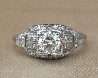 Art Deco Platinum Old Mine Cut with Side Diamonds Engagement  Ring