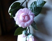 Silk Gardenia Spray in PINK for Millinery, Bridal, Home Decor