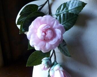 Pink Silk Gardenia Spray  for Millinery, Bridal, Home Decor