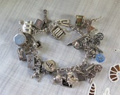 Sterling Silver Charm Bracelet 25 Assorted Charms Americana, Western, Collectible Vintage Mid Century