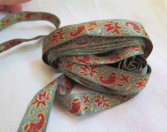 """Vintage Paisley Ribbon in Turquoise and Toffee Brown 3.5 Yards x 5/8"""" Wide Reversible"""