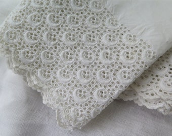 "Antique Eyelet Lace Trim Hand Embroidered White Cotton 102"" x 8-1/2"" Wide"