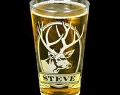 NEW! 1 Personalized Deer Pint Glass, Gift for Father's Day Gift for Dad, Man, Husband or Boyfriend