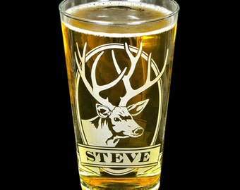 1 Personalized Deer Pint Glass, Gift for Father's Day Gift for Dad, Best Man, Etched Glass Beer Glass