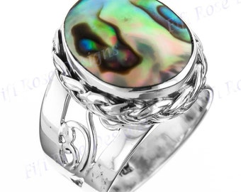 Design Oval Paua Abalone Shell 925 Sterling Silver Sz 6 Ring