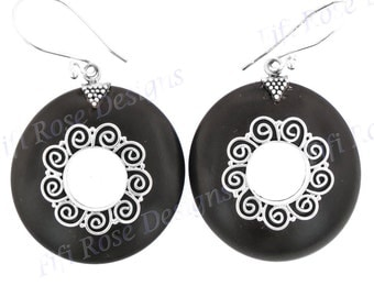 "1"" Round Black Ebony Wood 925 Sterling Silver Earrings"