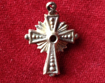 Gorgeous antique french religious stanhope cross pendant, sterling silver, amulet.