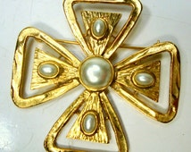 Iron Cross Gold Pearl Brooch, Medieval Maybe Maltese Double Cross Pin, 1970s Unused