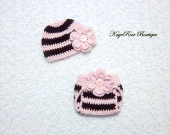 Newborn Baby Girl Crochet Flower Hat and Diaper Cover Set Pink and Brown Stripes