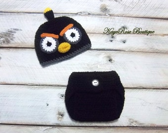 Angry Birds Inspired Newborn to Three Month Old Baby Crochet Hat and Diaper Cover Set Black Bird