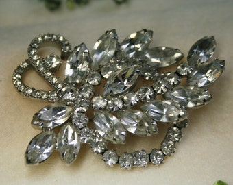 Vintage 1940s Coro Rhinestone Large Brooch Pin - Flower Vine Wreath Spray - Own a Piece of History