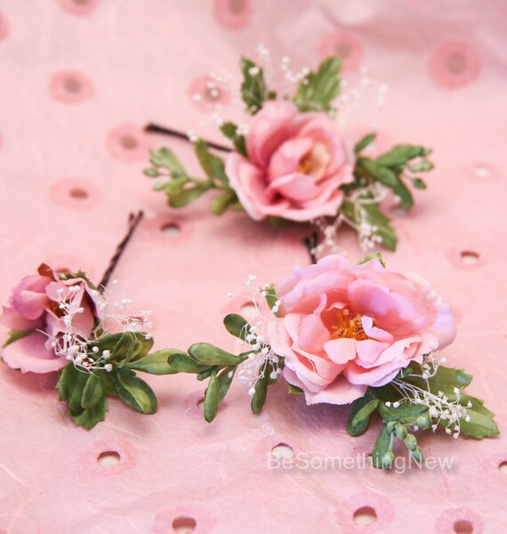 Wedding Hair Flowers Pink : Set of pink flower bridal hair pin by besomethingnew