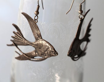 Sterling Angelfish Earrings Amazing Detail Similar to Lauren Wolf