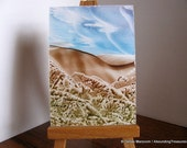 Inventory Clearance ACEO Brown Hills, Blue Sky - Wax Original Art - Cerulean Blue, Brown, Olive Green. SFA (Small Format Art)