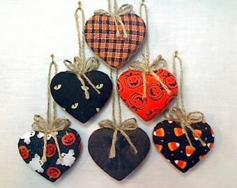 Halloween Heart Ornaments | Spooky Decor | Holidays | Folk Art | Party Favors | Fall Decor | Tree Ornament | Handmade | Goth | Set/6 | #1