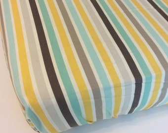Mint Gray Yellow Stripe Fitted Crib Sheet
