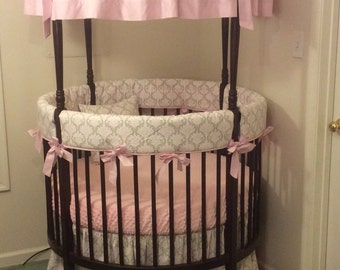 Pink and Taupe Damask Round Crib Bedding