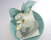 Fanciful Girlie Dress XL Clip On Gift Tag~Angel Wing Dress~Paper Rose~Vintage Inspired~Shabby Chic Style~Blue~Gold~Cream
