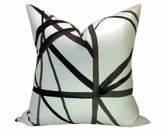 Kelly Wearstler Channels Pillow Cover in Ebony and Ivory