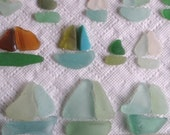 20 Natural Sea Glass Sailing Boats Shards Art Mosaic Craft Supplies (1748)