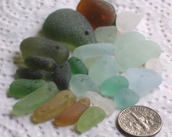26 Natural Sea Glass Beads Drilled 1.25mm holes Supplies (1918)