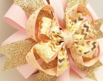 Pink & Gold Glitter Hair Bow- Babys first Birthday Bow- 4 inch Gold Pinwheel Bow on alligator clip- Pink and Metallic Gold Glitter Hair bow