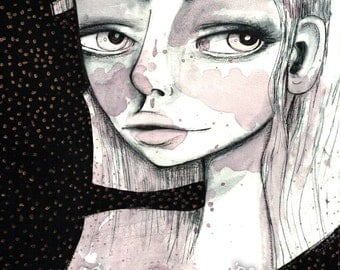 "ACEO / ATC Artists Trading Card Mini Art Print - 'Jenna' -  Small 2.5x3.5"" Giclee Art Print by Jessica von Braun - Big eye art print"