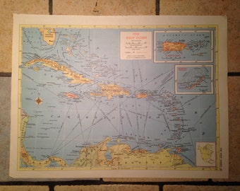 Political Map of The West Indies Antique Illustration